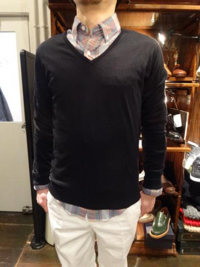 John Smedley Sea Island Cotton V knit MADE IN ENGLAND  Style Sample
