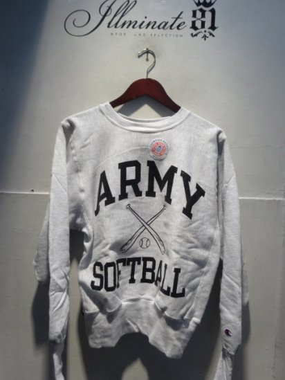 90's Champion Reverse Weave Sweat Dead stock Made in Mexico<BR> ARMY SOFTBALL
