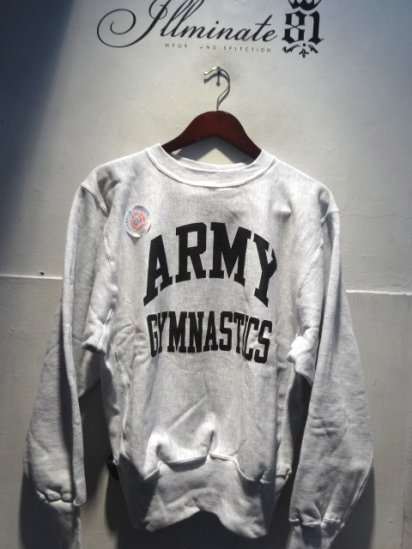90's Champion Reverse Weave Sweat Dead stock Made in Mexico<BR> ARMY GYMNASTICS