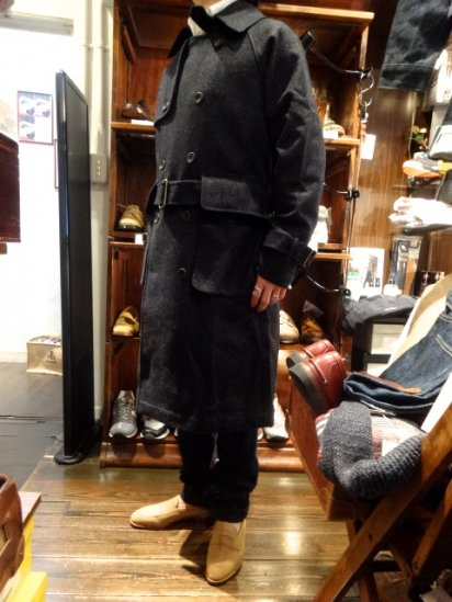 S.E.H KELLY YORKSHIRE SHETLAND WOOL TRENCH COAT MADE IN ENGLAND<BR>SALE! 188,000+Tax → 150,400+Tax