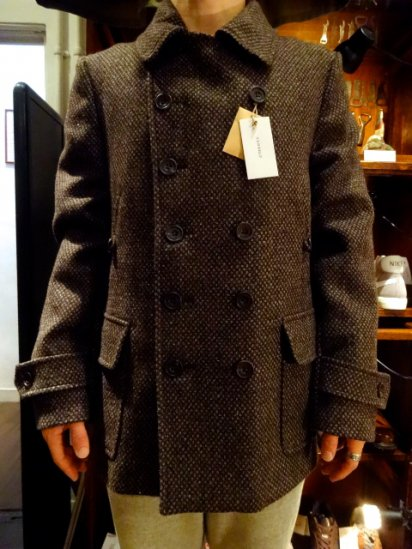 S.E.H KELLY INNER HEBRIDES TOW-SHEEP TWEED 10 Button Pea Coat<BR>SALE! 158,000+Tax → 126,400+Tax