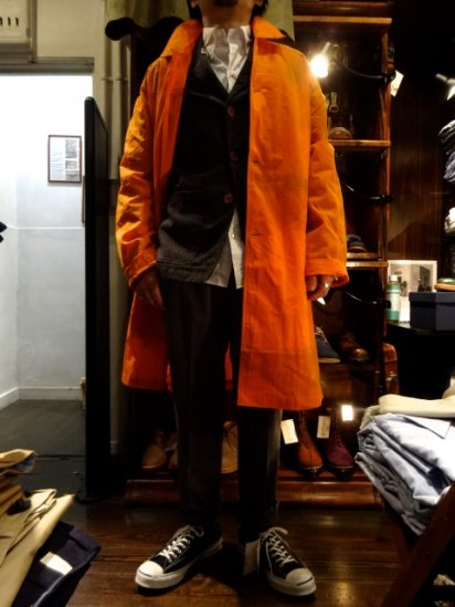 UNIVERSAL WORKS × Halley Stevensons Wax Cotton Coat Orange<BR>SALE! 65,000 + Tax → 39,000 + Tax