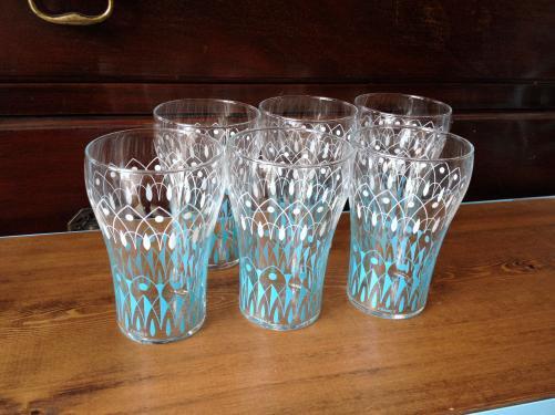 ヴィンテージ グラス /ブルー&ホワイト/レモネード/フランス D7