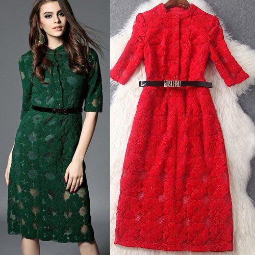 膝下ドレス予約2016春新作大人上品ジャガード織りワンピース緑赤S-2L T84814
