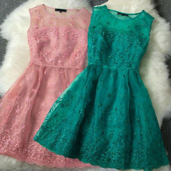 ミニドレス予約2016春新作可愛いオーガンジー刺繍ワンピース緑ピンクS-L T81052