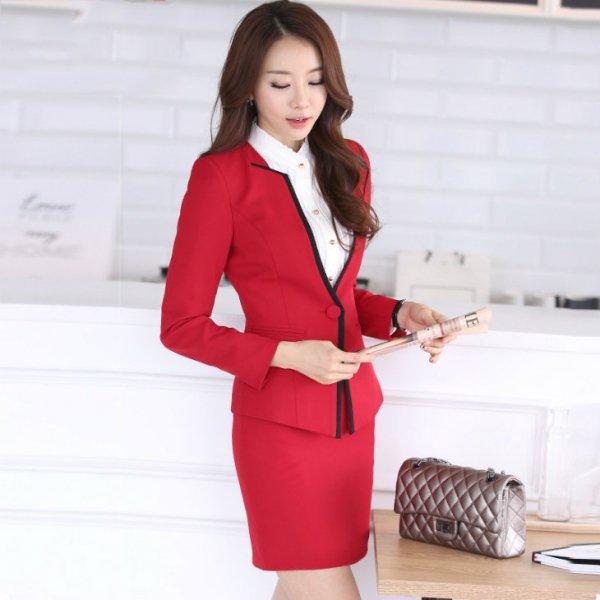 スーツ3点セット予約ジャケットスカートシャツセットアップ大きいサイズ赤S-XXXL u4670-zc21