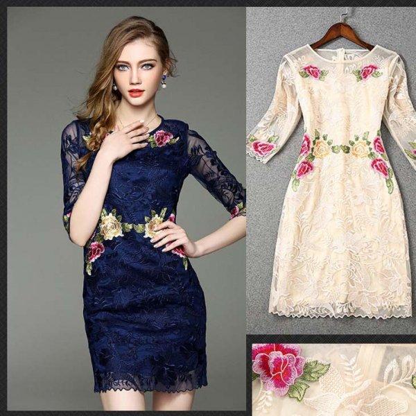 ミニドレス予約配色花柄刺繍ワンピース紺ベージュS-2L W81965