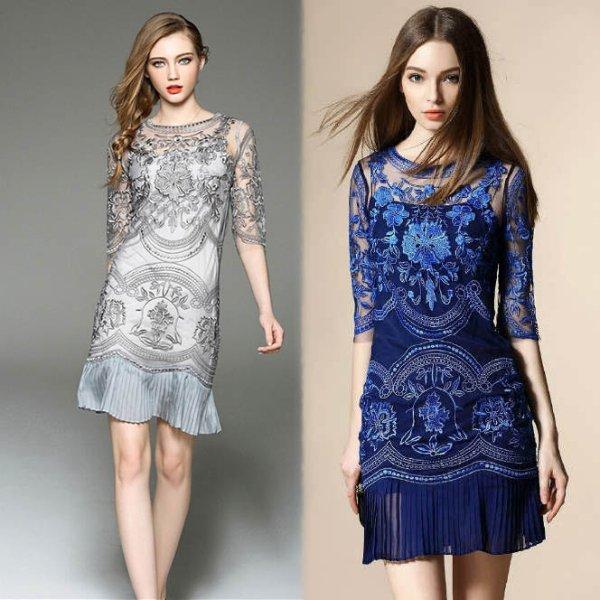 膝丈ミニドレス予約大人上品贅沢花柄刺繍ワンピースグレーベージュS-3L T83096