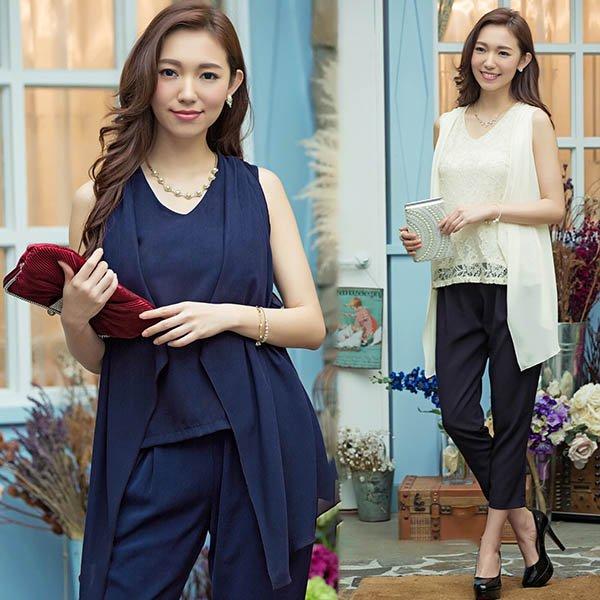 パンツドレス予約結婚式出かけ着やせ効果2枚セットパンツスーツツーピース紺レース黒ベージュS-3L YJ-6813