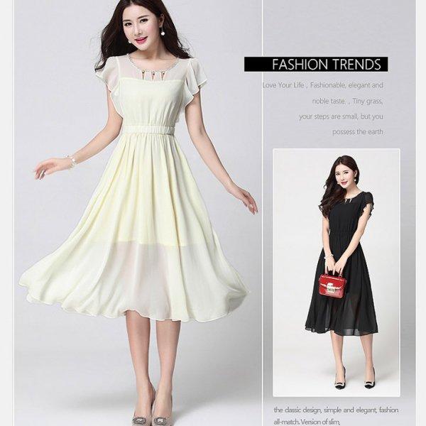 膝下ドレス予約出かけ可愛いビジュー柔らかいシフォンワンピース大きいサイズ黒クリームS-4L LSFS-619602