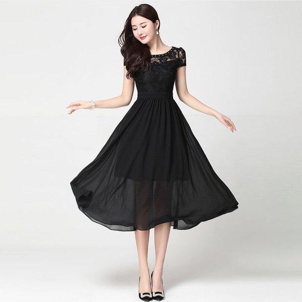 膝下ドレス予約出かけレースシフォン切替ワンピース大きいサイズ黒白S-4L LSFS-619604