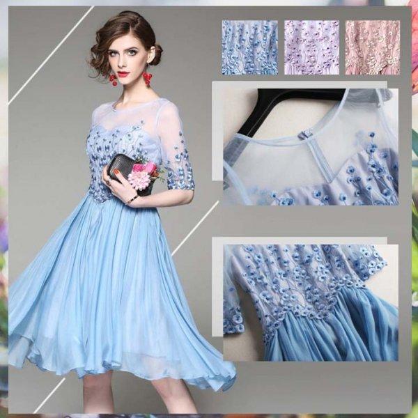 ミニドレス予約手縫製ビジュー上品刺繍シフォン切替ワンピース紫ピンクS-2L T84825