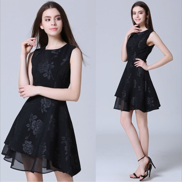 ミニドレス予約お出かけ大人上品バラ柄ジャガード織りワンピース黒S-2L MD-1638