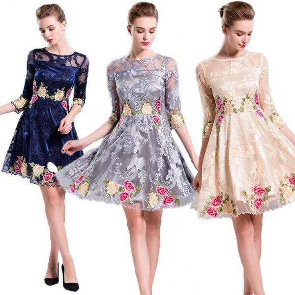 膝丈ドレス予約気品溢れ花柄配色刺繍Aラインワンピースピンク紺ベージュグレーS-3L YMS-0098