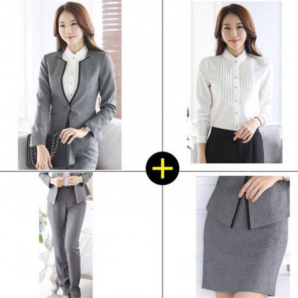 スーツ4点セット予約ジャケットパンツスカートシャツセットアップ大きいサイズ黒グレーS-XXXL u4670-zc2135 送料…