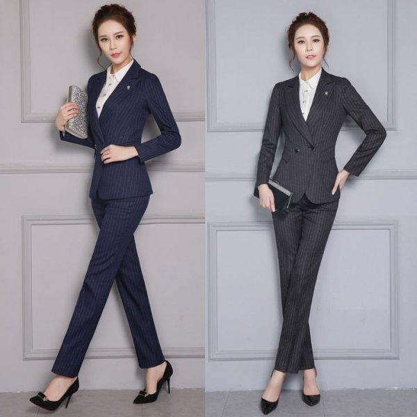 パンツスーツ予約ツーピース上下セットOL通勤面接ビジネススーツ長袖ジャケット+パンツ2点セットストライプグレー紺S-4L YL-XZ-X825 送料…