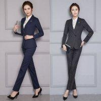 パンツスーツ グレー 紺 S-5L 予約 ツーピース 上下セット OL 制服 通勤 面接 ビジネススーツ 長袖 ジャケット+パンツ2点セット ストライプ XZ-X8252