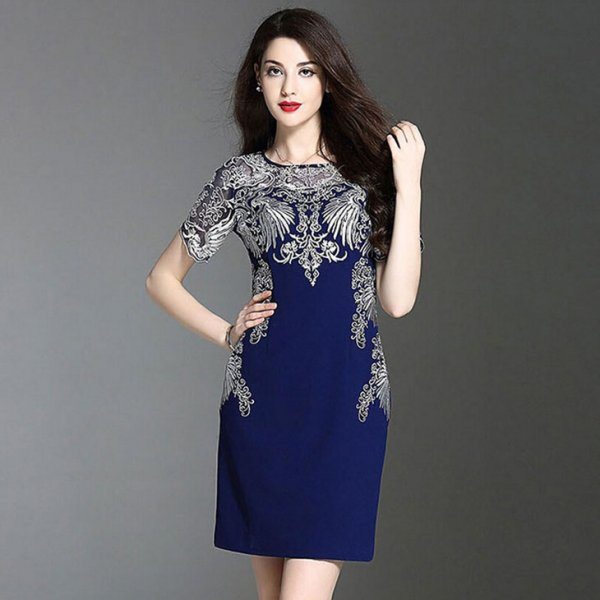 ミニドレス予約大人気品溢れ贅沢刺繍ワンピース紺赤M-4L YMS-0070  送料無料