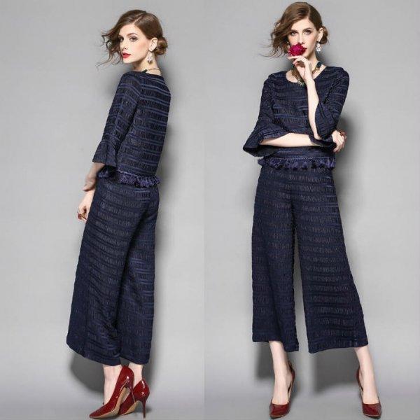 パーティーパンツドレス【予約】ツーピースパンツスーツ気品溢れ2枚上下セットネイビーS-L  T84609 送料…
