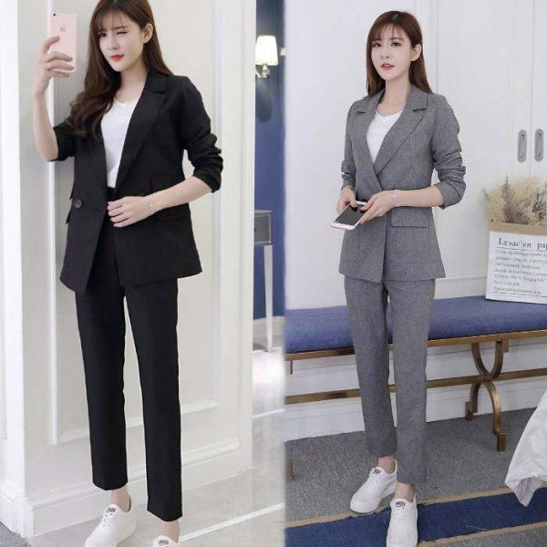 パンツスーツレディース予約結婚式 ビジネスセットセットアップテーラードジャケット+パンツ無地長袖袖あり パンツドレス黒グレー上下セットツーピースXS/S/M/L/XL