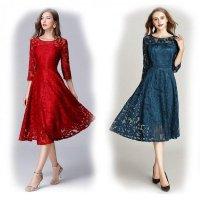 結婚式 ドレス ぽっちゃり L-6L 青 赤 パーティー 大きいサイズ レース シースルー 七分袖 長袖 袖あり 総レース ロングワンピース 3L MD-Y140606