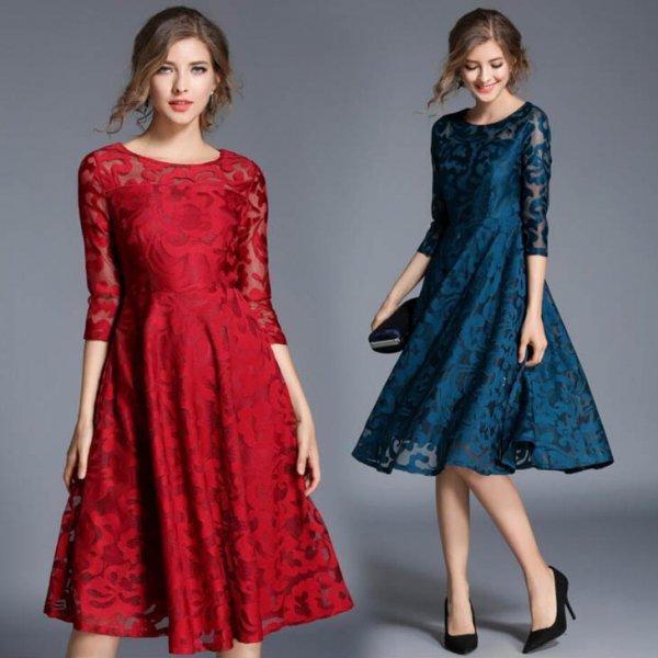 膝丈ドレス 予約 七分袖 パーティドレス ロングドレス 女優気分 美人スタイル 花柄 総レース結婚式 赤 レッド 青 ブルー S/ML/2L/3L 大きいサイズ MD-S8079 送料…
