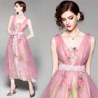パーティドレス 予約 S〜2L パーティー 二次会 結婚式 披露宴 チュールand花柄ワンピース 2枚セット ドレス YL-LM-9194