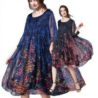 結婚式 パーティードレス ぽっちゃり 2L-6L 一部即納 黒 青 茶 七分袖 袖あり ゆったり 大きいサイズ パーティー 花柄 シフォン ドレス ワンピース ブルー MD-D68856