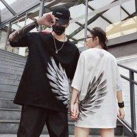 ペアルック カップル ペアTシャツ 一部即納予約 ペア カップル 半袖Tシャツ 切り替え 体型カバー 着痩せ 羽根柄 大きいサイズ 男女兼用 ユニセックス 黒 白 S-3XL 215603