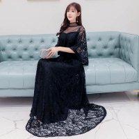結婚式 ロング ドレス ぽっちゃり 黒5L即納 白 M-5L パーティードレス 大きいサイズ 総レース 五分袖 袖あり パーティー ドレス ケープ風 花柄 ワンピース LSFS-66016