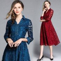 結婚式 ドレス ぽっちゃり S-3L 大きいサイズ 予約 袖あり 七分袖 花柄 総レースワンピース 赤 青 MD-S182856 フォーマルドレス 30代 40代 50代 60代