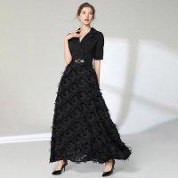 結婚式 ドレス 黒2L(M相当)即納 他 S-3L予約 袖あり 半袖 ベルト付き 異素材切替 タッセル ロングドレス ワンピース 黒 白 YL-MD-S669006