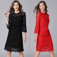 結婚式 パーティードレス 黒 赤 L-5L ぽっちゃり 大きいサイズ 予約 七分袖 袖あり 花柄 刺繍 総レース ワンピース MD-Y16089   ミニ 2L 3L 4L 秋 服装 フォーマル