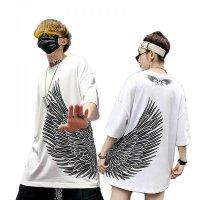 ペアルック カップル ペアTシャツ 即納 トップス メンズ Tシャツ 半袖 レディース P7090   黒 白 ピンク 大きいサイズ 羽根 ゆったり 男女兼用 ユニセックス 韓国風ファッション