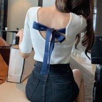 【即納】背中開き トップス 6色 リボン ニット 五分袖 Tシャツ