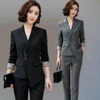 パンツスーツ 予約  黒L グレー2L ジャケット パンツ 2点セットアップ XZ-X8756 OL 通勤 通学 面接 ビジネス オシャレ レディーススーツ