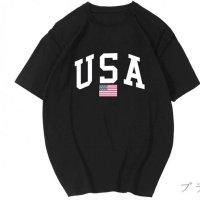 ペアルック カップル ペアTシャツ 予約 ペア カップル 全5色 半袖Tシャツ プリント LOGO ロゴ ゆったり 大きいサイズあり 星条旗柄 カジュアル ペアルック 7156966 単品価格