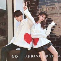 ペアルック カップル セーター S-2XL 白 黒 韓国ファッション 予約 ペア トップス ニット 長袖 24405026 ハートマーク レディース メンズ プレゼント