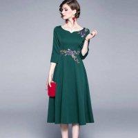 結婚式 ドレス ぽっちゃり M-3L グリーン レディース 大きいサイズ 予約 七分袖 袖あり 刺繍 バレリーナネック ワンピース MD-S936136 30代 40代 50代 60代