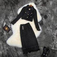 結婚式 スカートスーツ セットアップ S-2L 予約 ジャケット ロングスカート 2枚セット 黒 LYY-T102146 レディース パーティー 二次会 披露宴 大人上品