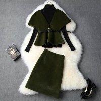 結婚式 スカートスーツ セットアップ S-2L 予約 パーティー 二次会 披露宴 大人上品感 ワンランク上 贅沢3枚セットドレス LYY-T103936 レディース グリーン