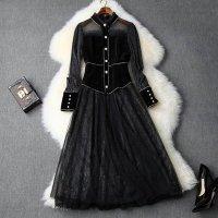 韓国ワンピース 韓国ファッション デートコーデ 大人可愛い インポートワンピース S-2L 大きいサイズ 予約 袖あり 長袖 黒 LYY-T103956