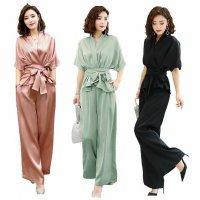 結婚式 パンツスーツ M-3L ぽっちゃり 大きいサイズ 予約 セットアップ 上下セット 0458346 ツーピース 韓国 ファッション レディース フォーマル 半袖