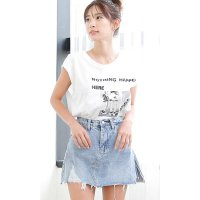 ショートパンツ in デニムスカート インディゴブルー L 即納 PixyParty fas-6036 スパッツ デザイン デニムスカート ダメージ加工 マイクロミニスカート
