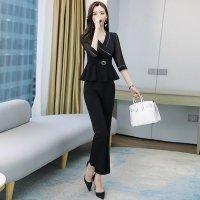 パンツスーツ M-3L 黒 ベージュ レディース セットアップ 七分袖 OL 制服 XYSP-60126 ぽっちゃり 大きいサイズ 通勤 オフィス着