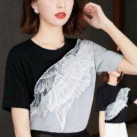 トップス Tシャツ グレー 黒 S-3L ぽっちゃり 大きいサイズ 立体羽根飾り バイカラー 2465906 配色 半袖 丸首 無地 レディース 夏服