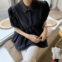 トップス シャツ 黒 F即納 白 レディース パフスリーブ 半袖 2423346 ギャザー 裾フレア 襟付きヘンリーネック カジュアル ブラック 夏服
