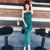 オールインワン 緑L即納 XS-L 黒 レディース パンツドレス ベアトップ リボン 8440186 グリーン 結婚式 パーティー フォーマル 二次会