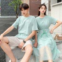 ペアルック カップル セットアップ S-3XL ペアTシャツ スカート パンツ 6969961 薄緑 半袖 恋人 デート プレゼント ワンピ 無地 夏