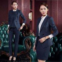 スーツ 4点セット S-3XL ネイビー 黒 予約 ジャケット+スカート+パンツ+ベスト セットアップ パンツスーツ スカートスーツ ネイビー XZ-X966C4